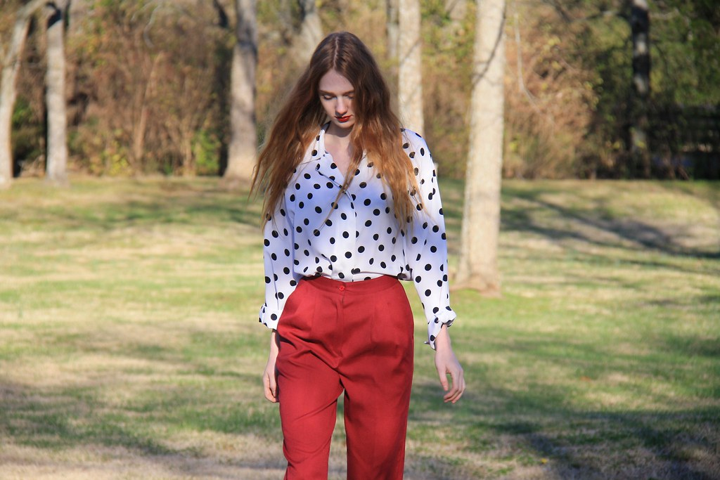 pleats + polka dots