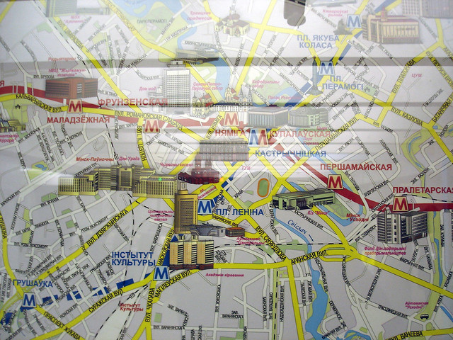 The city map inside subway stations