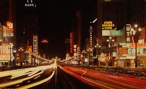 city vintage lights utah view postcard main saltlakecity 1958