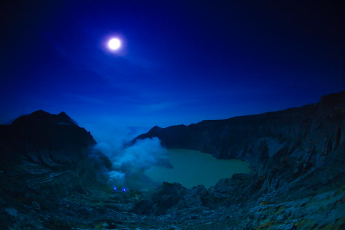 [Free Images] Nature, River / Lake, Night Sky, Moon, Caldera, Landscape - Indonesia ID:201112142000