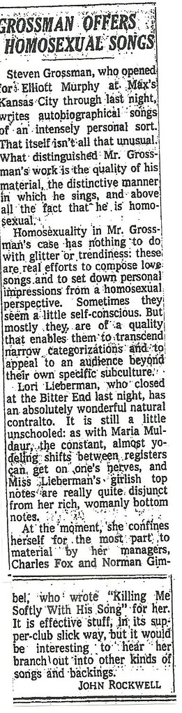 05-07-74 NYT Review - Steven Grossman @ Max's Kansas City