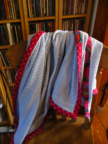 Blanket, fancified with Kaffe Fassett bias trim