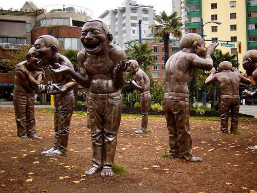 vancouver's west end laughter statues