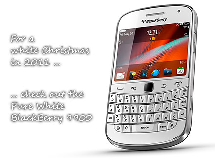 Pure white BlackBerry 9900 from Research In Motion