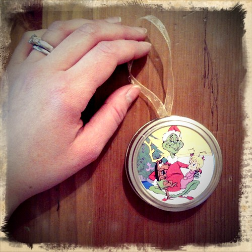 Mason Jar Lid Ornament for Billy's school gift exchange
