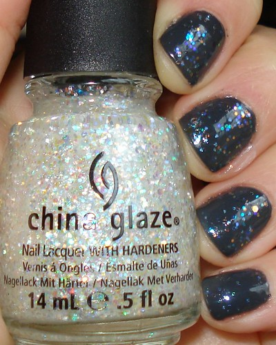 CND Shellac Asphalt with China Glaze Snow Globe