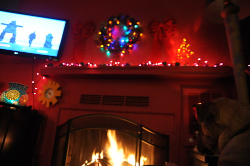 Inukshuks and man running on TV, Christmas fireplace, Rosie, Seattle, Washington, USA by Wonderlane