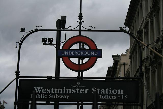 Estación de metro de Westminster en Londres.
