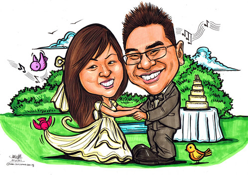wedding couple caricatures in European style