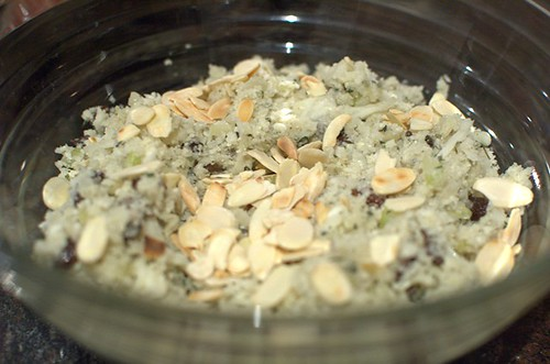 Cauliflower rice with raisins and almonds
