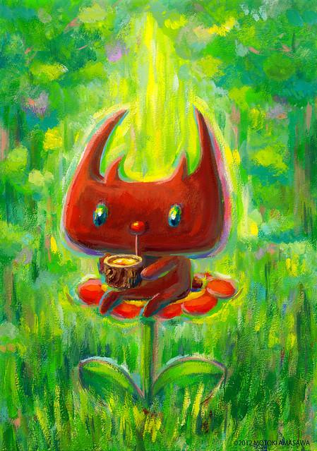 一枚絵31_森で樹液ジュースを飲む、クワガタむー