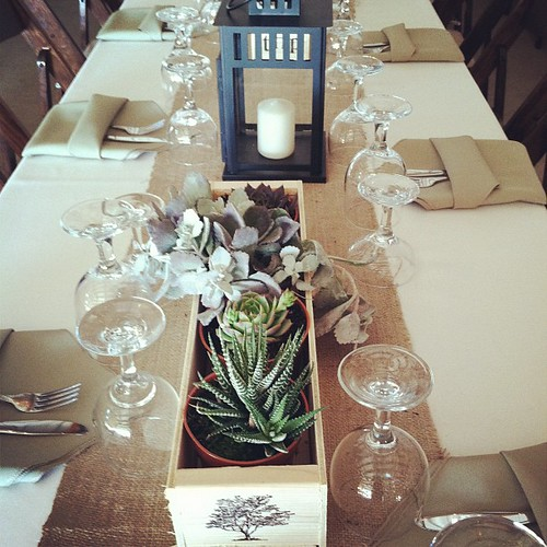 Succulent and lantern centerpieces