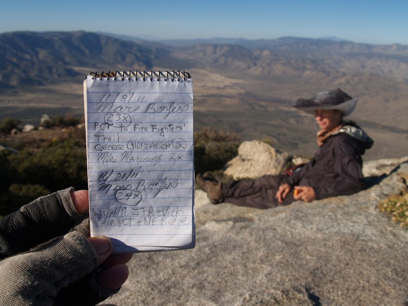 Granite Mountain Summit Register entry