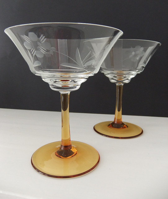 Vintage Champagne Glasses Champagne Saucers With Amber