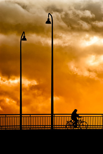 bridge sunset art bicycle silhouette day