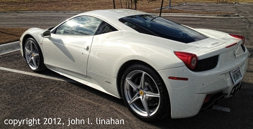cameraphone auto white car italian louisiana automobile lafayette ferrari rearview 2012 0296 458 iphone4s