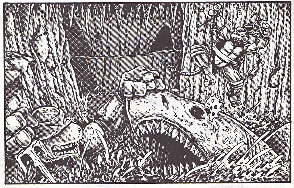 """'THE CATALOG OF PALLADIUM BOOKS 1988-89 Catalog' vi / """"Shark Fight"""" art by Eastman & Laird isolated  (( 1988 )) by tOkKa"""