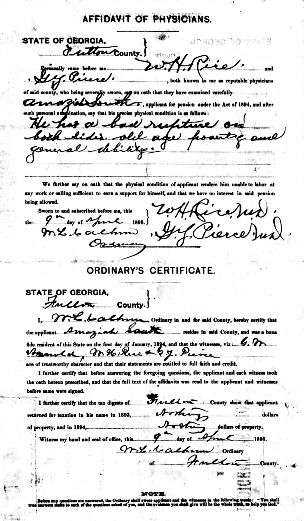 Amaziah South Confederate Pension Application