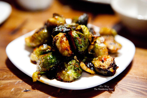 Roasted Brussels Sprouts with Maple Syrup & Red Chili Sauce