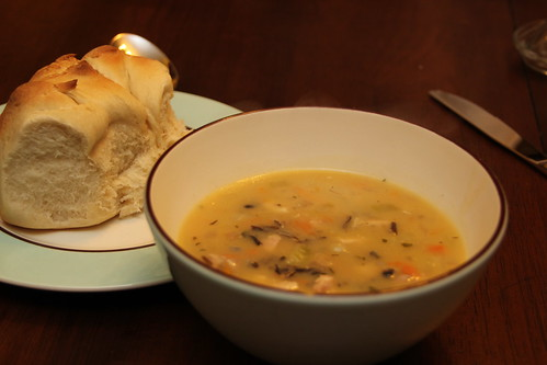 Chicken Wild Rice Soup and Honey Yeast Rolls