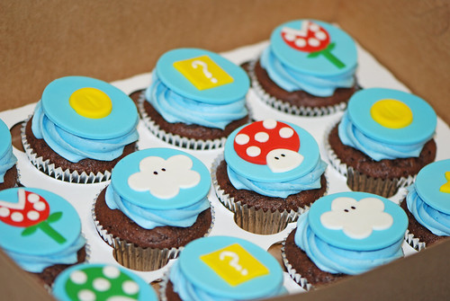 cupcakes for a Super Mario Brothers birthday celebration