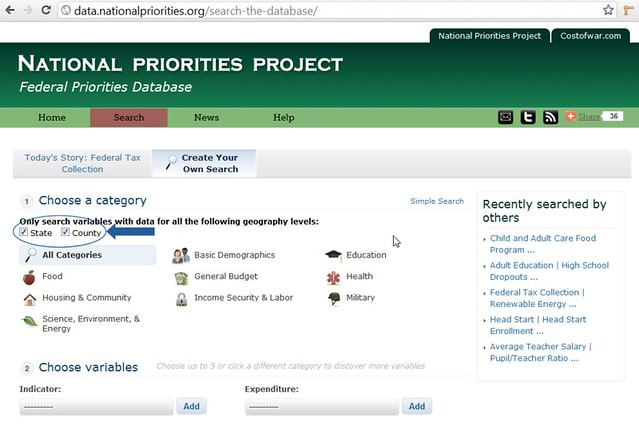 Federal Priorities Database: advanced search