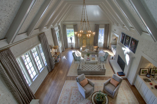 Looking down into living room