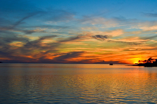 sunset reflection clouds florida gulfbreeze