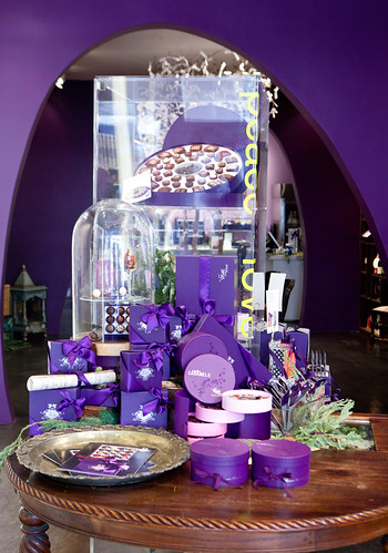 Display of the trademark purple boxes