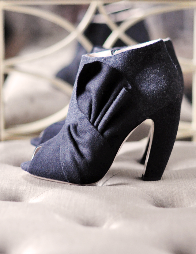 miu miu gray black felt knotted  ankle boots