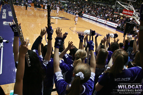 The Northwestern University 'Wildcat' Basketball Band Cheers at Welsh-Ryan Arena