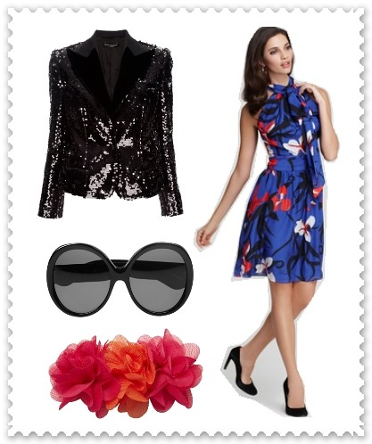 Wear Floral Dress with Sequined Jacket