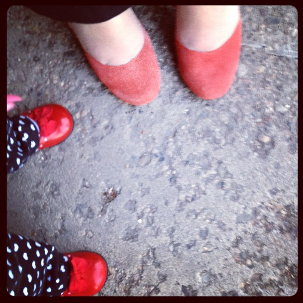 Mama and baby red shoes