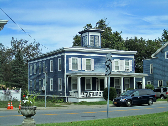 Blue House With Extraordinary Cupola Johnstown New York