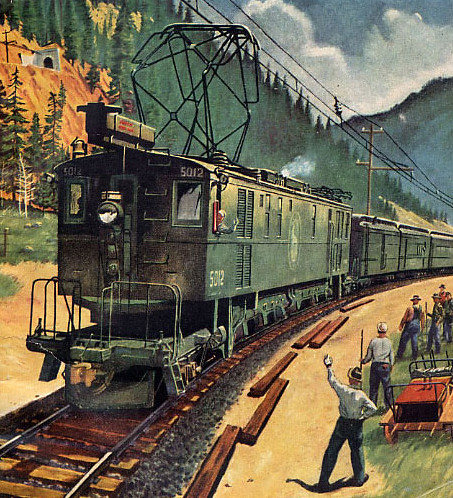 A Y-1 class electric motor has the Glacier Park Limited in tow on what is today the Iron Goat Trail in Washington's Cascade Mountains. Artwork courtesy Great Northern Railway Historical Society.