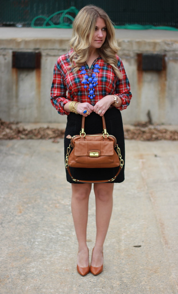 plaid blouse and a statement necklace