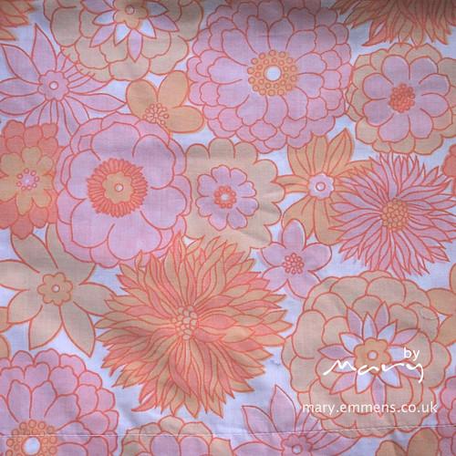 Vintage sheet - orange floral