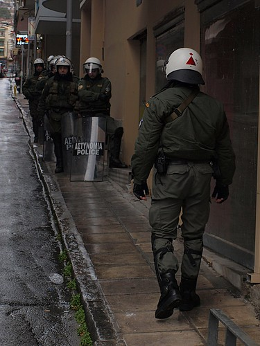 No public protest is complete in Greece without presence of riot police by Teacher Dude's BBQ