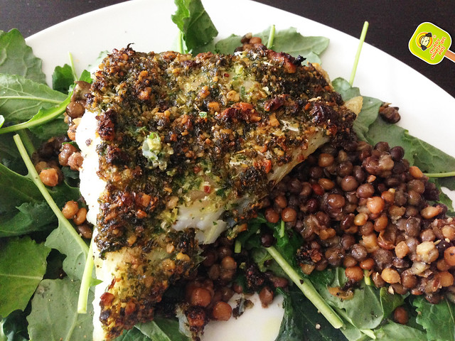 provenzal chimichurri with walnuts crusted cod