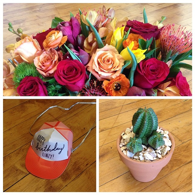 Flowers from Chris, Hat from Grayden, Cactus from Elise