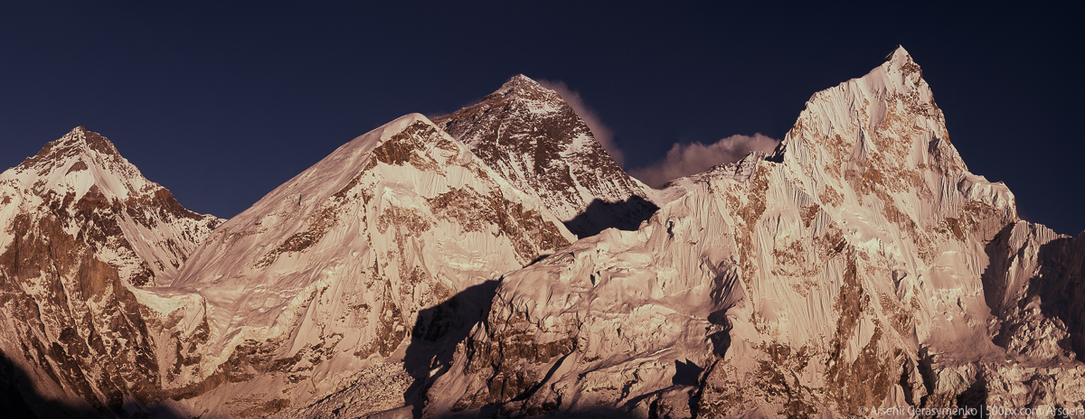 Everest Mt. Peak (8848 m), Lhotse Mt. Peak (8516 m), Nuptse (7861 m). 20-shots panoramic view, captured at height 5500 m in Himalayas