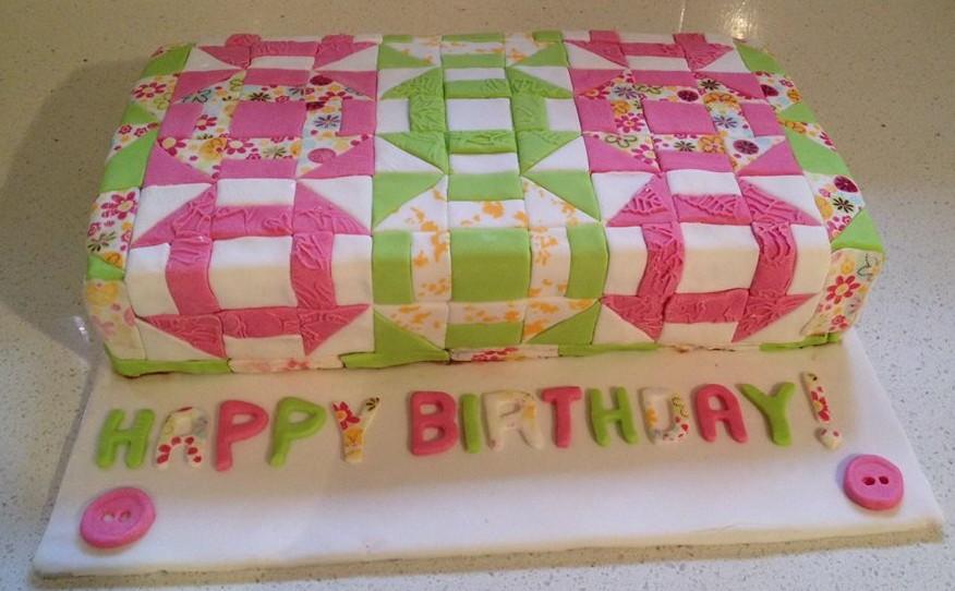 Churn Dash Quilt Block Birthday Cake