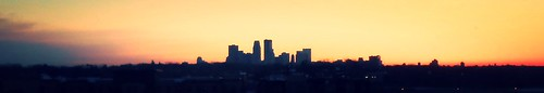 Minneapolis city skyline at dawn