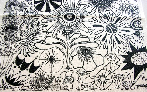 Black and White Flower Doodle, 8x8 test swatch close up #2