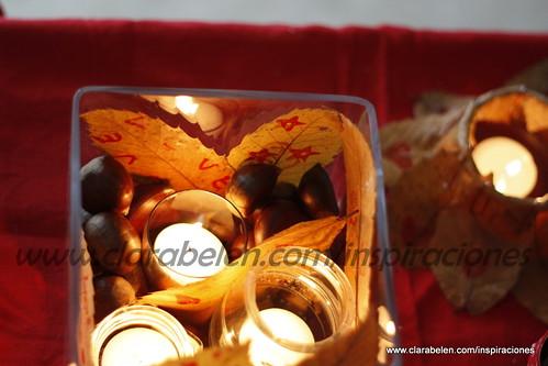 Centros de mesa caseros con hojas secas y velas