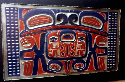 Totemic art, on paper, Tlingket - Haida, Washington State Ferries office, cobalt blue, red, white, Belltown, Seattle, Washington, USA by Wonderlane