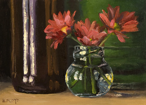 Still Life with Red Mums, Bottle, and Urn