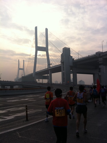 Running up the Nanpu Bridge during Shanghai Marathon
