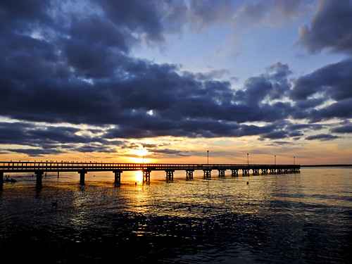 sunset reflection pier seasidepark barnegatbay