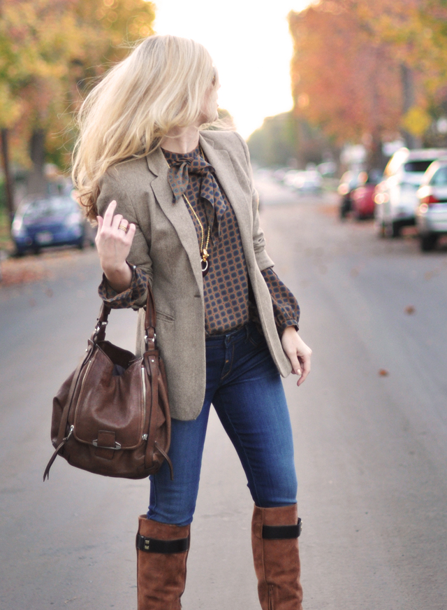 mixing browns - jeans and a blazer-vintage blouse-hair-boots